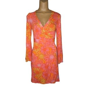 Macbeth Collection Bright Sunflower Wrap Dress M